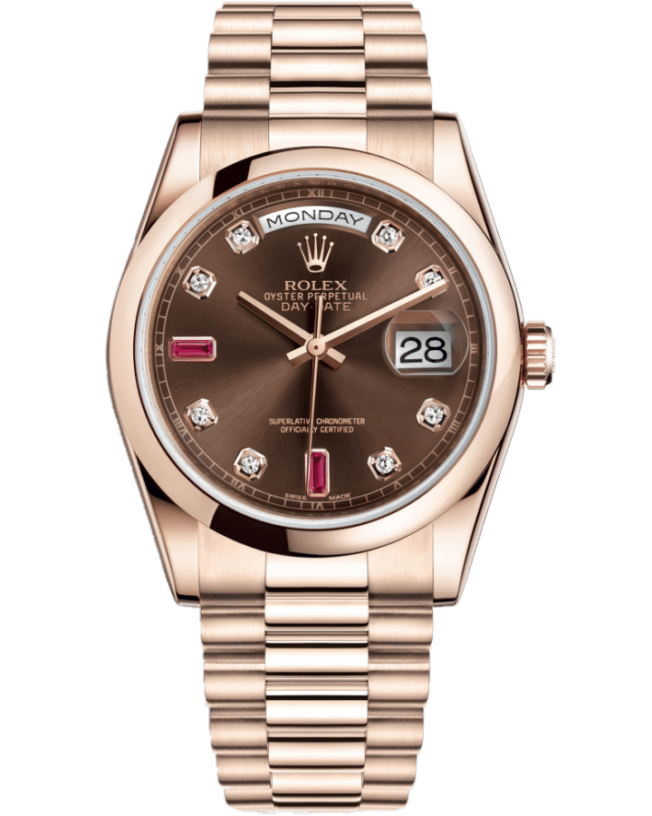 Rolex 118205-0104 Day-Date Ruby Chocolate 36mm