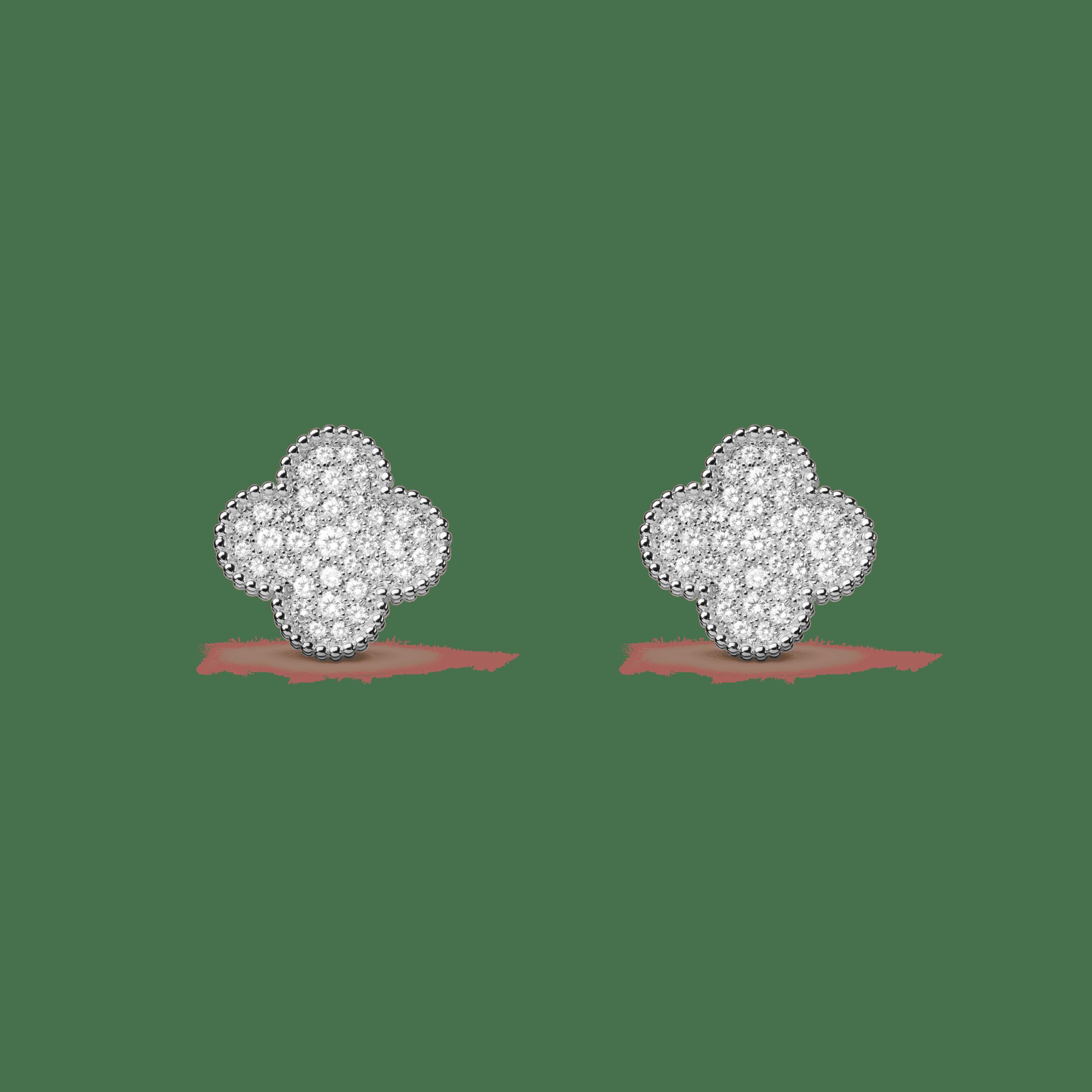Серьги Van Cleef & Arpels Magic Alhambra. Белое золото и бриллианты